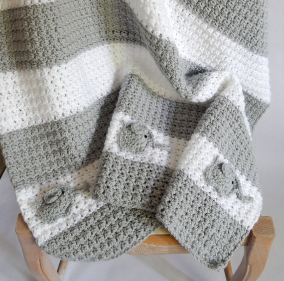 Crocheted white and grey blanket with Elephant accent 6 month