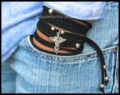 BOHO Wrap Bracelet - VETERINARIAN Vet Tech Animal Dog Charm Bracelet - Multi Wrap Microfiber Faux Suede Beaded Cord - Alex and Renee USA 335