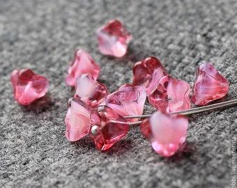 Czech Glass Flower Beads 20 Pcs Pink flower Beads, Czech Glass, Bell Flower Beads, Pressed Glass Beads, Czech Glass Beads, Czech Beads 6x8mm