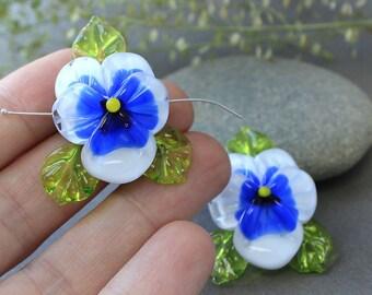 Handmade Lampwork Beads Pansy, Glass Pansy Bead, Sculpted Pansy Beads, Glass Beads, Floral Lampwork, Lampwork Flower Beads, SRA Beads, Pansy