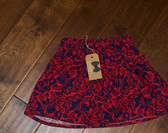 Toddler Skirt - Deep Blues and Rich Reds Floral - 3T
