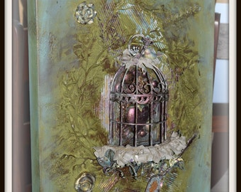 One of a kind, Mixed Media, Original Canvas-Caged