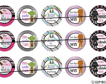 Star Wars   1 inch flat back, pin backs, hollow back buttons, bottle caps, scrapbooking, crafts, bow centers- set of 15.