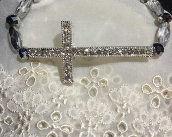Crystal silver sideway cross with silver crystals