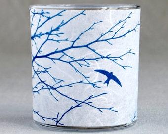 Delicate Swifts Cyanotype Tea-light holder Blue & White