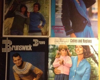 Cables, Raglans, Coats, Oh My! - lot of four knitting pattern books