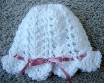 New Handmade Crocheted Soft White Baby Hat w/ Mauve Pink Ribbon 3-6 Months