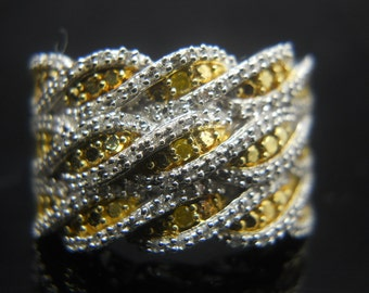 Diamond Ring, Sterling Silver Ring, Size 9 Ring, Large Silver Ring, Wide Band Ring, 925 Ring, Yellow Diamond Ring, Sterling Ring, 925 Band