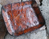 """Wasteland Oddities Leather Valet Tray. 6"""" x 8""""  Hand Tooled, Distressed Custom Leather Mini Valet-"""