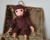 Vintage plush monkey, Plush, rubber face Schuco monkey
