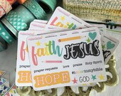 Faith Words Sampler Stickers, War Binder Stickers, Bible Stickers, Bible Journaling Stickers, Planner Stickers, Tab Stickers, Prayer Journal