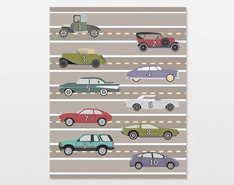 Cars Transportation Nursery Art Print, Vehicle Counting Artwork, Boys Room, Vintage Cars Decor