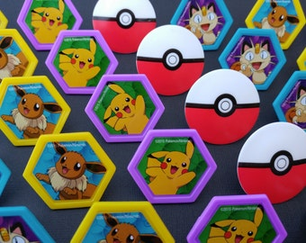 24 Pokemon Go! rings for cupcake toppers cake birthday party favors PIkachu Meowth Eevee Pokeball I Choose You game gamer bachelor teen