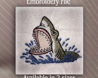 Shark jumping out of water 2 sizes Machine Embroidery Design File Instant Download