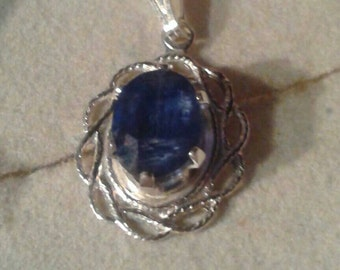 Natural Blue Kyanite Sterling Silver Necklace
