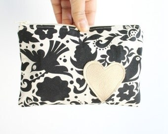 Floral & Bird Mini Pouch / Black and White Zip Pouch / Zipper Pouch / Small Makeup Bag / Gift for Her / Wallet Pouch / Small Clutch