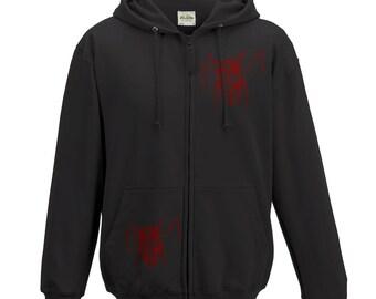 Black twin peaks hoodie, Spooky owl, hand drawn illustration, unisex hooded sweatshirt