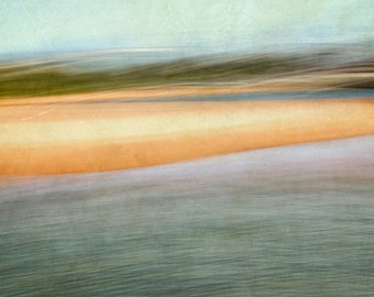 "Beach Photography - ""Narrabeen Summers"" - Ready to Frame -  Print - large wall art - impressionistic - bright colours greens, blues, orange"