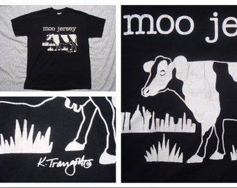 Vintage Retro Men's 90's Moo Jersey Cow New Jersey Black Tshirt Silk Screen Short Sleeve Large Made in the USA
