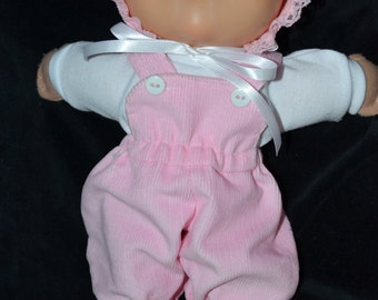"""Newborn Cabbage Patch Doll Clothes, 11"""" Newborn pink corduroy footed overalls t shirt & bonnet,handmade,doll clothing,newborn,pink,11"""" doll"""