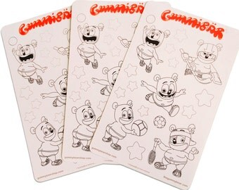 Gummibär (The Gummy Bear) Sticker Sheets ~ Sports Coloring Stickers ~ 3 Sheets ~  Kawaii Character ~ Planner Stickers