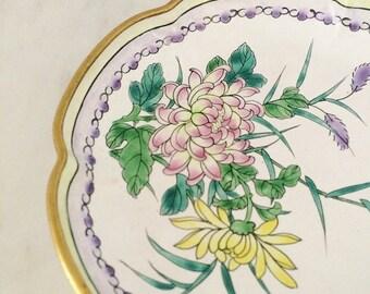 Floral Cloisonne Plate, Vintage Cloisonne Dish, White Pink Cloisonne, Cloisonne Trinket Dish, Chinese Dish, Vintage Cloissone