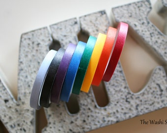 Rainbow Solid Thin Washi Tape Set of 8