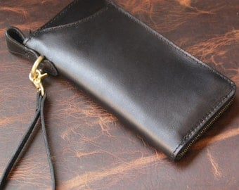 Genuine Long  Leather wallet with lagre zipper-Men wallet--Black Leather purce -large capacity