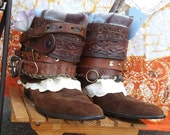 Gypsy Festival Cowboy Boots Belted Upcycled Hippie Boots Repurposed Embellished Boots