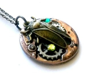 Steampunk Insect Pendant Necklace - Vintage Look Copper and Mixed Metals Stamped Fly & Clockwork Gears Green Yellow Rhinestones