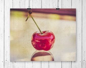 Cherry Photograph Food Photography Kitchen Wall Art Cherry Print Food Print Cherry Art Red Home Decor Gallery Wall Prints Fine Art Photo