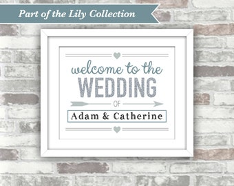 PRINTABLE Digital File - LILY Collection - Personalised 'Welcome to the Wedding of' Sign - Silver Glitter Effect with Greyed-Blue Shades