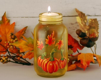 Autumn Mason jar floating candle, hand painted with pumpkins and autumn leaves