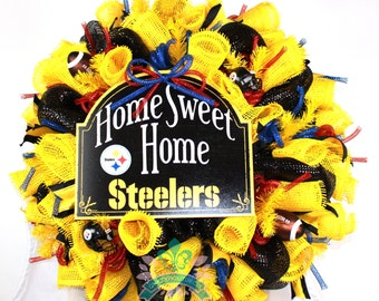 Pittsburgh Steelers Fan Black and Yellow Deco Mesh Door Wreath