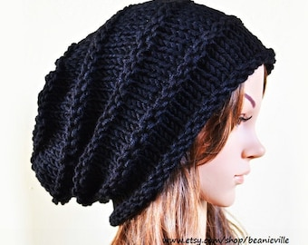 Slouchy beanie - BLACK (Or Choose Color) - Paypal FREE SHIPPING - ribbed style - slouch - chunky handmade hat - Unisex men women