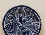 Vintage Mexican Clay Decorative Pottery Plate Wall Art Cobalt Blue