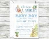 Peter Rabbit Baby Shower Invitation, Baby Boy Shower, Oh Boy, Beatrix Potter Invitation
