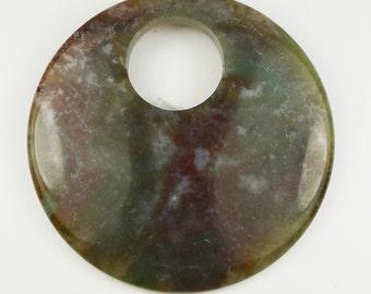 BEAUTIFUL Moss Agate Round Pendant Bead - 57x5mm