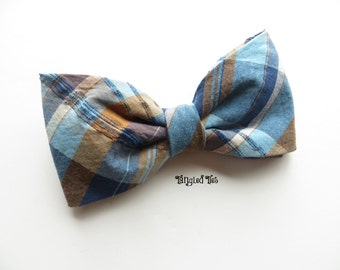 Rugged Blue Plaid Bow Tie, Blue and Orange Plaid Bow Tie