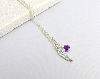 Birthstone Necklace, Angel Wing Birthstone Necklace, Birthday Gifts,  Gifts For Her, Memorial Necklace, Angel Wing Necklace