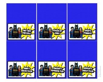 Lego Justice League party food labels