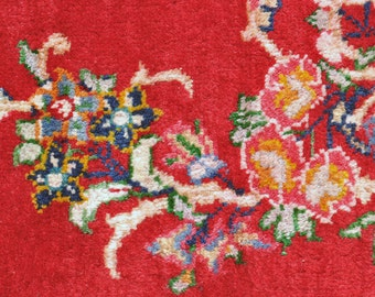 Red Signed Persian Rug  -- with Floral Bouquets -- 10 ft. 7 in. by 7 ft. 4 in.
