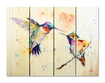 22x16 Love Birds Watercolor on Cedar, Colorful Hummingbird, Indoor and Outdoor Decor, Wall Decor, Wall Hanging Art. (DCLB2216)