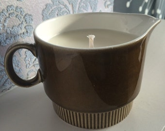 Retro brown Poole Pottery milk/cream jug, hand filled with natural and scented soy wax.