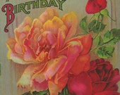 "Vintage 1914 ""All Joy For Your Birthday"" Postcard With Beautiful Rose Theme Great for Scrapbook and Crafting Artisans"