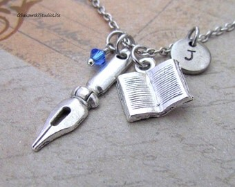 Fountain Pen Nib and Book Charm Necklace, Personalized Antique Silver Hand Stamped Initial Birthstone Monogram Writer Necklace
