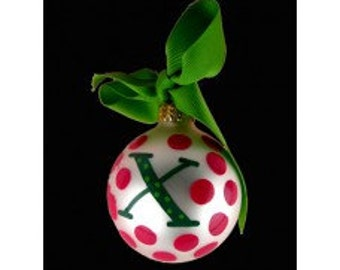 "Coton Pottery Hand Painted ""X"" Polka Dot Ornament"
