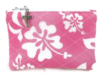Women's Rosary Pouch, Quilted Pink and White Flowers, Catholic, Coin Purse, Bags and Purses, Relgious