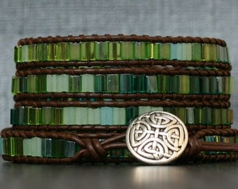 sea glass color bracelet- beaded leather wrapped bracelet - mixed green tile beads on dark brown leather - beach glass color