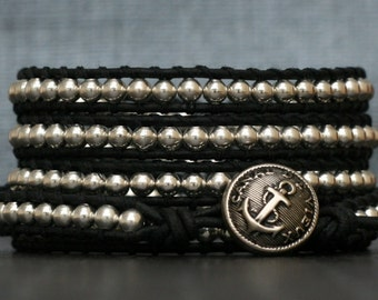 wrap bracelet- silver metal on black leather with anchor button - mens womens boho jewelry
